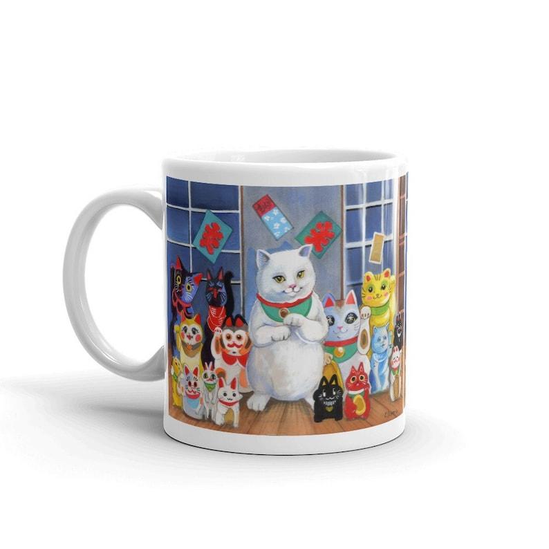 CERAMIC MUG With Lucky Cats Kawaii Neko Illustration image 0