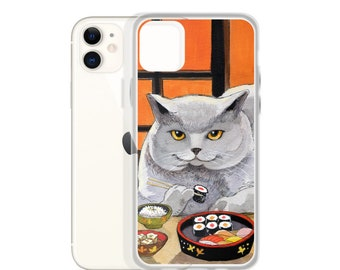 """iPhone Case Sushi Cat """"Big Fred"""" Illustrated Kawaii Cat- Choose your phone type!"""