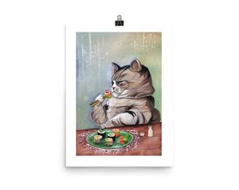 "Sushi Cat ""Fancy Feast"" Matte Poster Print"