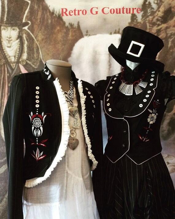 goth egl folk vest festival gothic embroidery clothing tracht xs boho roses lolita dirndl Boho waistcoat vintage gypsy style bohemian goth q6xOxSg