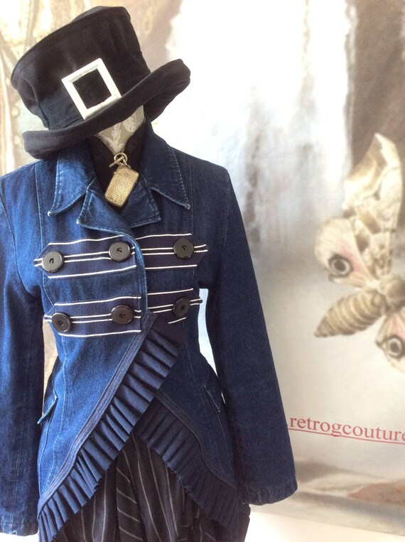 couture boho Victorian gypsy military tailcoat chest denim gothic blue G 38 Neo ruffle style Retro goth Jacket bohemian SteamPunk q1wvUU
