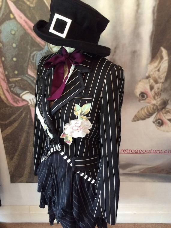 goth gypsy tux boho jacket Tailcoat Gothic festival 36 clothing vintage chest roses teaparty gardenparty xqXpnYZ