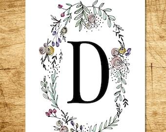 Monogram Floral Watercolor Wreath Print