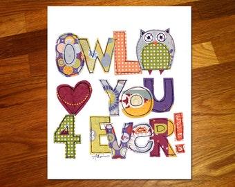 Owl love you 4 Ever 8x10 Print