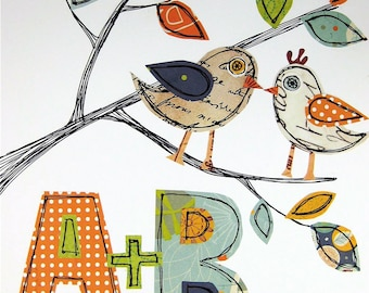 Love Birds in a Tree 8 x 10 - Makes a Great Wedding Gift