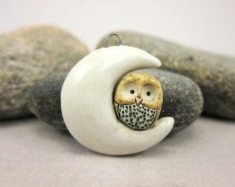Moon Owl....Stoneware Pendant by elukka