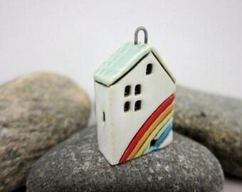 Rainbow Cottage...OOAK Miniature House Pendant in Stoneware by elukka...Turquoise Green Roof
