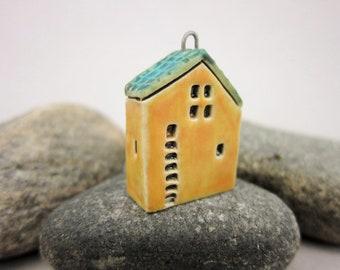 Upstairs Downstairs...OOAK Miniature House Pendant in Stoneware by elukka...Orange