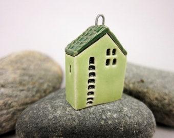 Upstairs Downstairs...OOAK Miniature House Pendant in Stoneware by elukka...Lime Green
