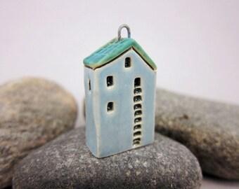 Upstairs Downstairs...OOAK Miniature House Pendant in Stoneware by elukka...Baby Blue