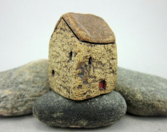 INVENTORY SALE...Old Barn...Brown Roof...Miniature House in Rustic Stoneware