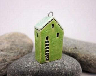 Upstairs Downstairs...OOAK Miniature House Pendant in Stoneware by elukka...Grass Green