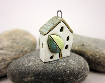 Vegan...OOAK Miniature House Pendant in Stoneware by elukka