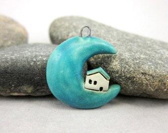 Moon Cottage....Stoneware Pendant by elukka...Matte Blue