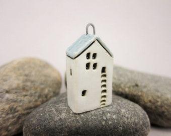 Upstairs Downstairs...OOAK Miniature House Pendant in Stoneware by elukka...White