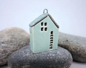 Upstairs Downstairs...OOAK Miniature House Pendant in Stoneware by elukka...Turquoise Green