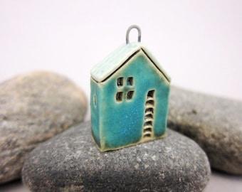 Upstairs Downstairs...OOAK Miniature House Pendant in Stoneware by elukka...Matte Blue