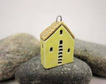 Upstairs Downstairs...OOAK Miniature House Pendant in Stoneware by elukka...Yellow