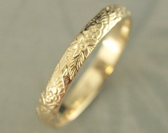 10K Gold Ring 10K Gold Band Floral Wedding Ring Flower Wedding Band Spring Flowers Embossed Ring Cast Ring Solid Gold Women's Wedding Band
