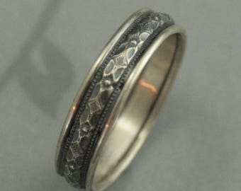 Silver Wedding Ring Men's Wedding Band Renaissance Edged Band Silver Wedding Band Silver Men's Band Silver Patterned Band Men's Promise Ring