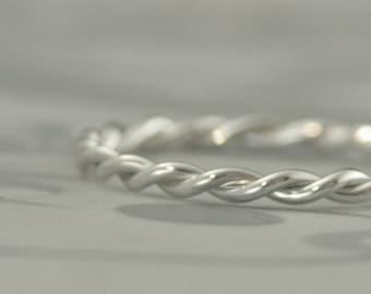 10K Gold Twist Ring Women's Gold Ring Wedding Band 2mm Diameter Rope Ring Solid White Gold Ring Wedding Band Gold Rope Ring 10K Gold Ring