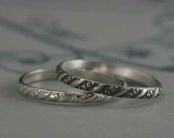Silver Stacking Ring--Versailles Pattern Band--Women's Silver Wedding Ring--Vintage Style Wedding Band--Petite Silver Band--Thin Silver Ring