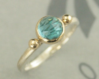London Blue Topaz Ring Rose Cut Stone Bezel Setting Birthstone Ring Silver and Gold Simple Blue Topaz Ring Minimalist Ring Stackable Ring