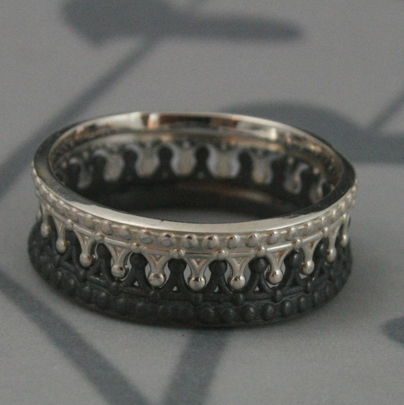 Black And Sterling Silver Crown Band Setcheck Matecrown Etsy
