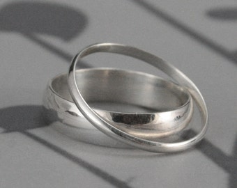 Silver Wedding Set--Through Thick and Thin Wedding Rings--Solid Sterling Silver Half Round Wedding Band Set