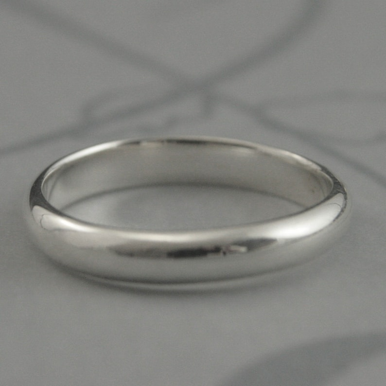 Plain Silver Ring Simple Silver Band 3mm Wide Ring Simple Wedding Band Plain Silver Ring Silver Half Round Band Mens Wedding Ring Womens