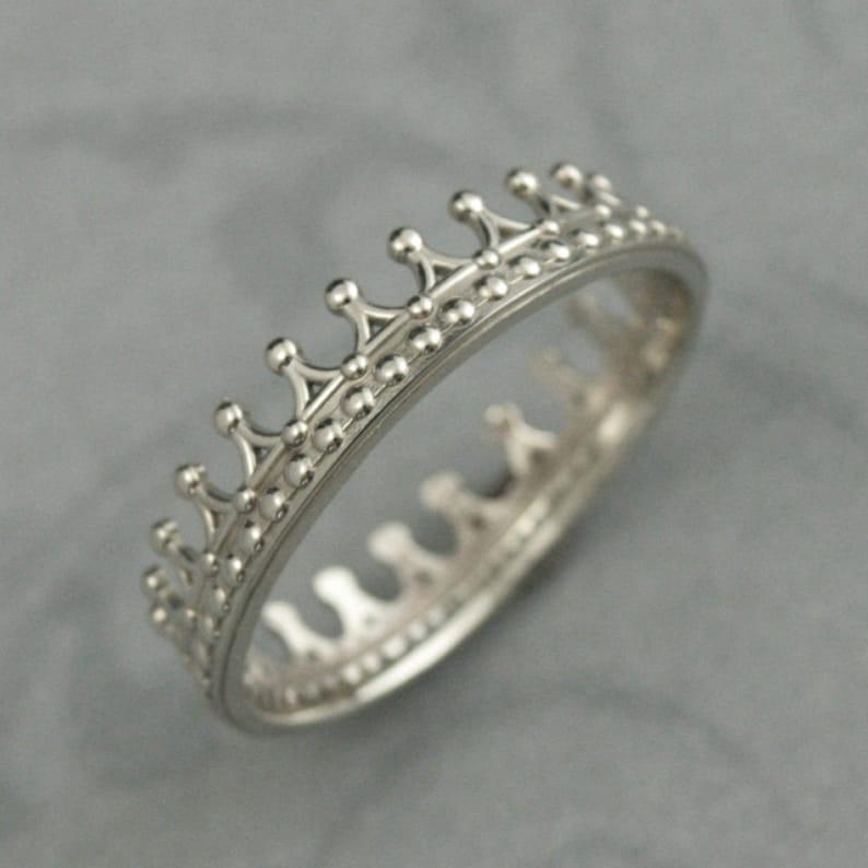 Solid 14k White Gold Crown Bandcheck Mategold Crown Etsy