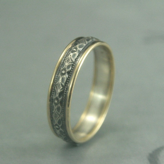 Princess Kylie Oxidized Sterling Silver Two Flower Open Band Ring