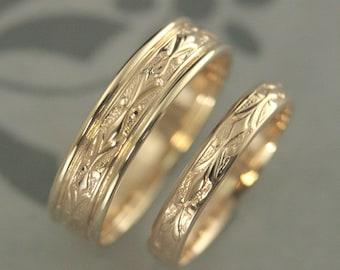Gold Wedding Set Wedding Band Set Wedding Ring Set 14K Edwardian Set His and Hers Bands His and Hers Rings Gold Couples Rings Couples Bands