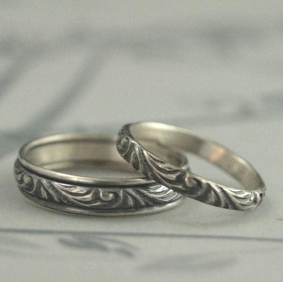 Silberne Hochzeit Set Hochzeit Band Set Hochzeit Ring Set Etsy