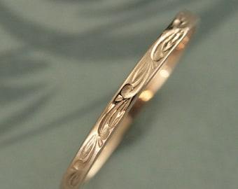 Rose Gold Ring~Thin Wedding Band~Flower Ring~Women's Thin Band~Rose Gold Band~Sweet Pea~Vine Ring~Women's Wedding Ring~Women's Gold Ring