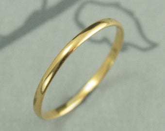 22K Yellow Gold Ring 1.5mm Thin Rich Gold Band Half Round Ring 22K Gold Wedding Band Women's Gold Ring Women's Gold Band Gold Wedding Ring