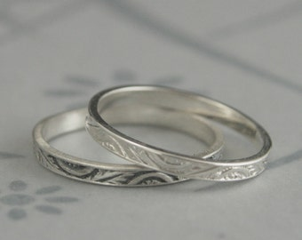 Fan and Feather Stacking Ring--Solid Sterling Silver Engraved Thin Wedding Band--Small Flat Silver Band--Detailed Embossed Design
