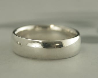 6mm Mens Band Silver Mens Ring Comfort Fit Band Comfort Fit Ring Silver Wedding Band Silver Wedding Ring Mens Wedding Ring 6mm Wide Band