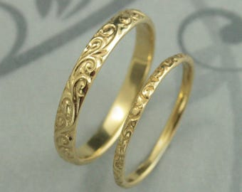 18K Gold Wedding Set His and Hers Gold Rings Flourish Bands Swirl Rings Fancy Gold Bands Unisex Wedding Rings 18K Gold Bands Hand Cast