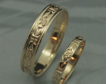 Romance in the Garden Wedding Band Set--Solid 14K Yellow Gold Floral Patterned Rings--Solid Gold His and Hers Bands