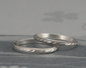 Textured Stacker~Patterned Ring~Stacking Ring~Silver Stacker~Milgrain Edge Ring~Thin Silver Ring~Milgrain Wedding Band~Silver Stacking Ring