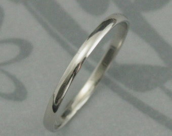 Platinum Wedding Band~Thin Platinum Band~Women's Band~Platinum Skinny Minnie Plain Jane Ring--Solid Platinum 1.5mm Rounded Traditional Band