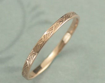 Pattern Ring 14K Rose Gold Ring Brush Strokes Band Women's Wedding Band Patterned Gold Band Antique Style Ring Art Deco Ring Vintage Style
