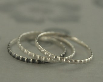 Tiny Beaded Ring Silver Stacking Ring Petite Beaded Band Tiny Pillow Ring Thin Beaded Ring Women's Silver Wedding Band Women's Ring