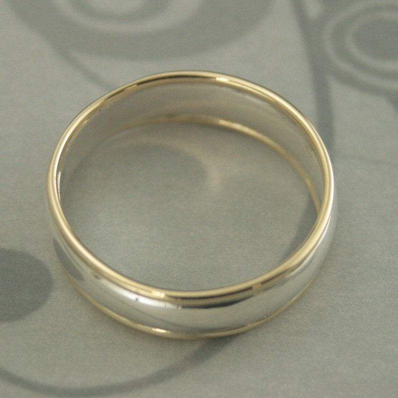 Band Comfort Fit Ring Two Tone Band Silver and Gold Ring Men\u2019s Wedding Band 6mm Wide Ring Comfortable Men\u2019s Ring Touch of Gold Band Handmade