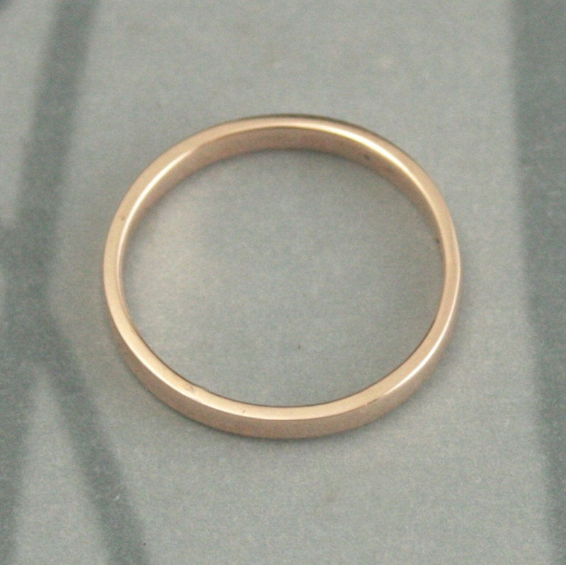Rose Gold Wedding Band--Straight and Narrow 2mm--Flat Edge Band--Solid 14K Gold Ring--Women/'s Wedding Band--Flat Ring-Rose Gold Stacker Ring