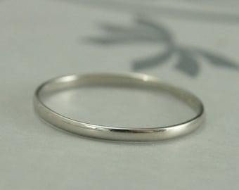 White Gold Wedding Band~1.5mm by .75mm Skinny Minnie~10K Gold Ring~Half Round Band~Women's Wedding Band~Wedding Ring~Recycled Gold Ring