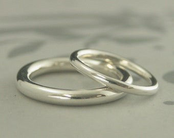 Silver Wedding Rings Full Round Bands 2mm and 3mm  Round Rings Silver His and Hers Rings Silver Comfort Fit Wedding Band Set