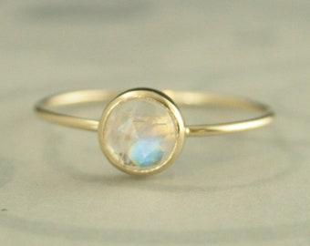 Gold Moonstone Ring Rainbow Moonstone Ring 6mm Rose Cut Moonstone Ring 14K Gold Stacking Ring Gold Stackable Ring Minimalist Moonstone Ring