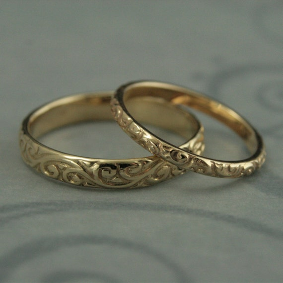 Patterned Wedding Band Set Vintage Style Wedding Rings His And Etsy
